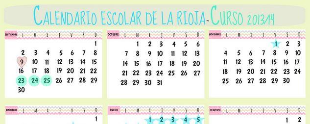 Calendario escolar de La Rioja para imprimir