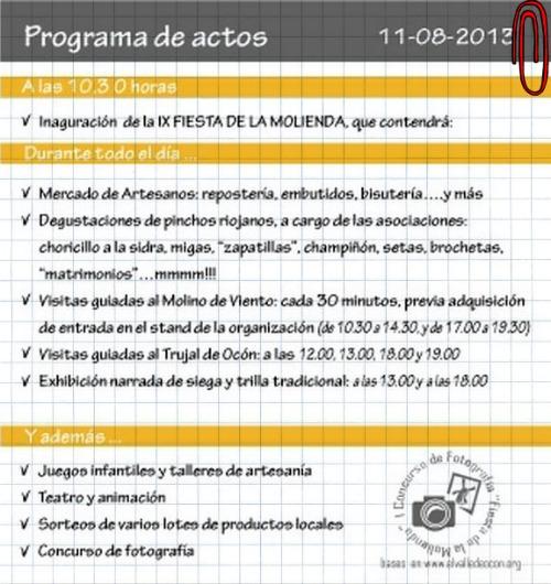Programa Fiesta de la Molienda Ocón 2013