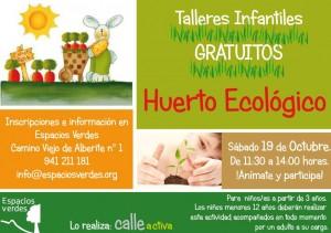 Talleres infantiles gratuitos Huerto Ecologico Espacios Verdes