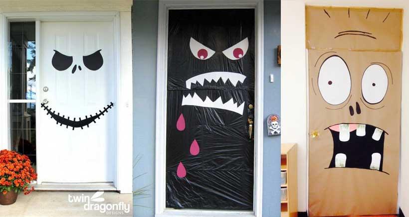 Decoraci n de halloween en un pis pas for Puertas decoradas halloween calabaza