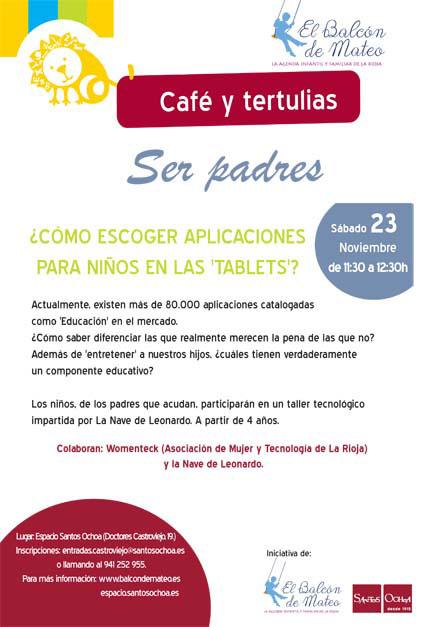 Imagen del cartel del cafe-tertulia-sobre apps educativas Balcon-de-Mateo Santos Ochoa