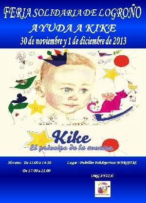 Cartel feria solidaria ayuda a Kike Logroño