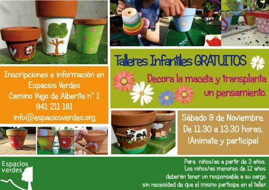 Talleres manualidades y jardineria para niños en Espacios Verdes