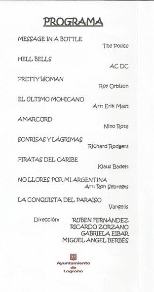 programa fin de curso escuela municipal de musica Logroño