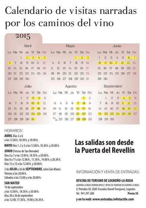 Calendario caminos del vino