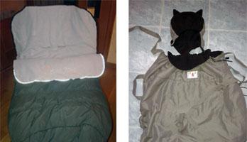 Se vende: saco de invierno y cobertor para portabebé