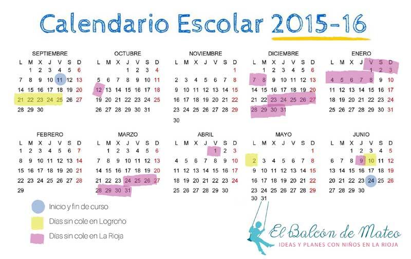 Calendario escolar de La Rioja 2015-2016 (para imprimir