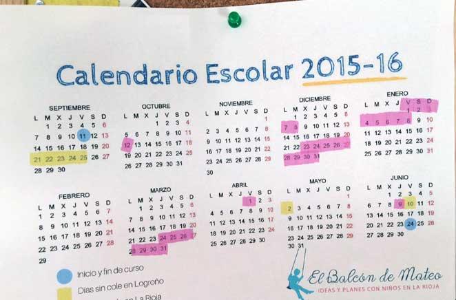 Calendario escolar de La Rioja 2015-2016 (para imprimir)