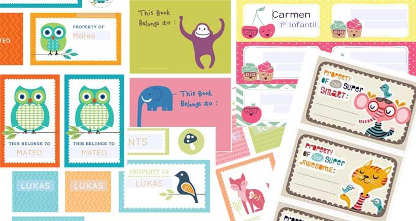 Pegatinas para libros y cuadernos (para imprimir)