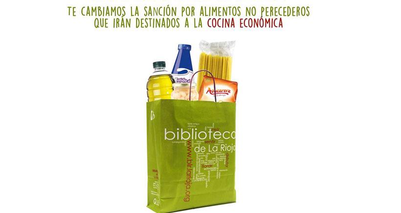 La Biblioteca de La Rioja cambia sanciones por comida: campaña solidaria 'Te lo cambio'