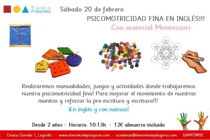 Taller de psicomotricidad fina en inglés con material Montessori