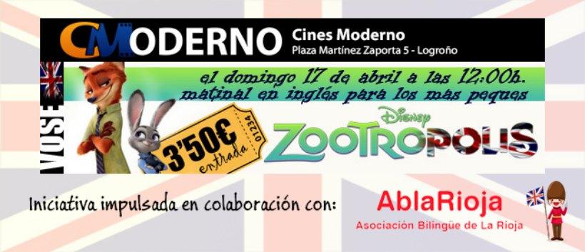Cine infantil en versión original: este domingo, 'Zootrópolis' en inglés