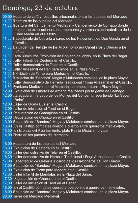 Programa XI jornadas medievales Cornago Domingo 22 octubre 2016