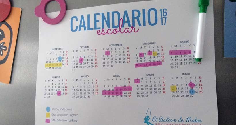 Calendario escolar de La Rioja 2016-2017 (para imprimir)