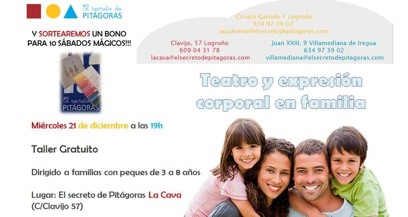 Taller de teatro en familia en El Secreto de Pitágoras. ¡Gratuito!