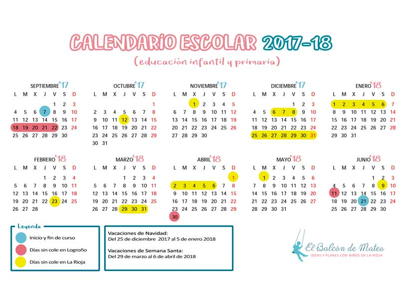 Calendario escolar 2017-2018 La Rioja imprimir