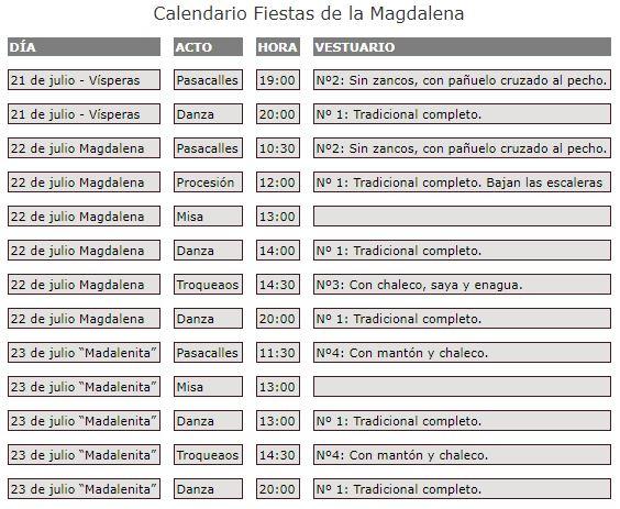 Calendario Fiestas de la Magdalena