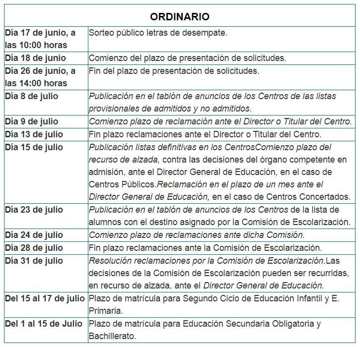 Calendario escolarizacion Segundo Ciclo de Educacion Infantil, Primaria, ESO y Bachillerato curso 2020-2021