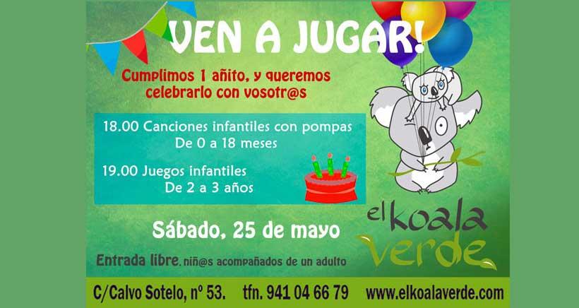 Este sábado, juegos para bebés 0-3 años en El Koala Verde