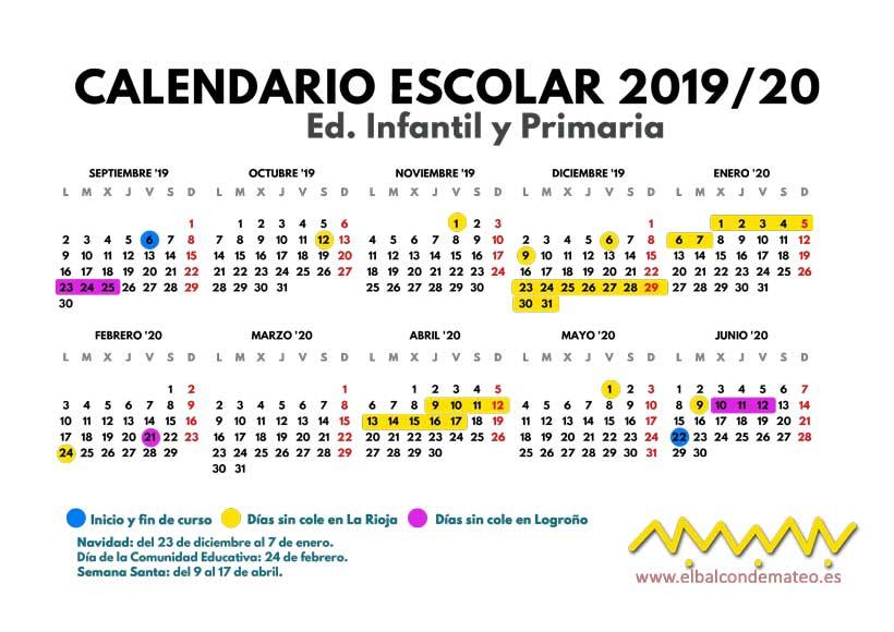 Calendario Diciembre 2020 Para Imprimir.Calendario Escolar 2019 2020 La Rioja Y Logrono Para Imprimir