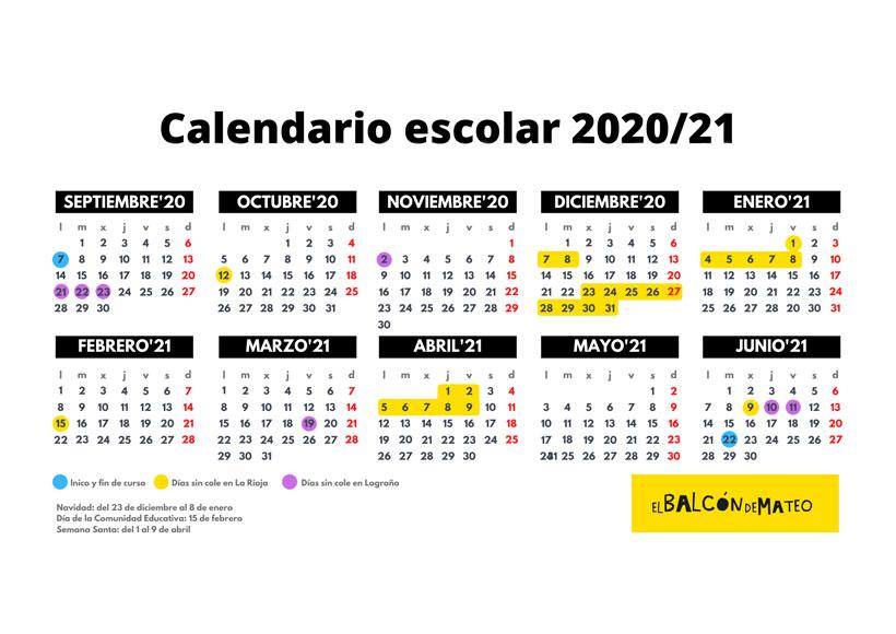 Calendario escolar 2020/2021 La Rioja y Logroño (para imprimir)
