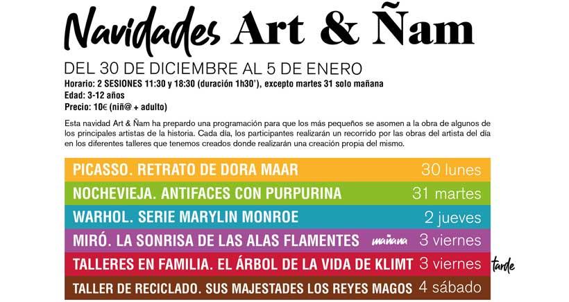 Talleres de arte en Navidad con Art&Ñam