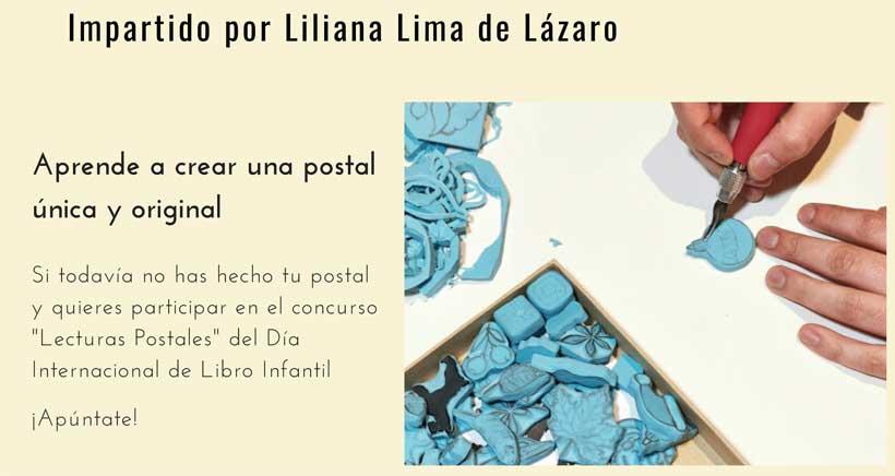 Taller de estampación con sellos en la Biblioteca Rafael Azcona