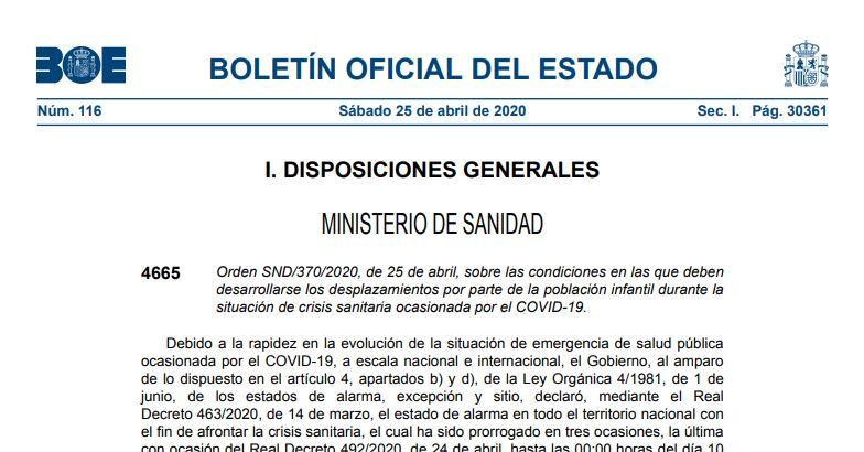 Publicada la Orden que regula los desplazamientos de la población infantil