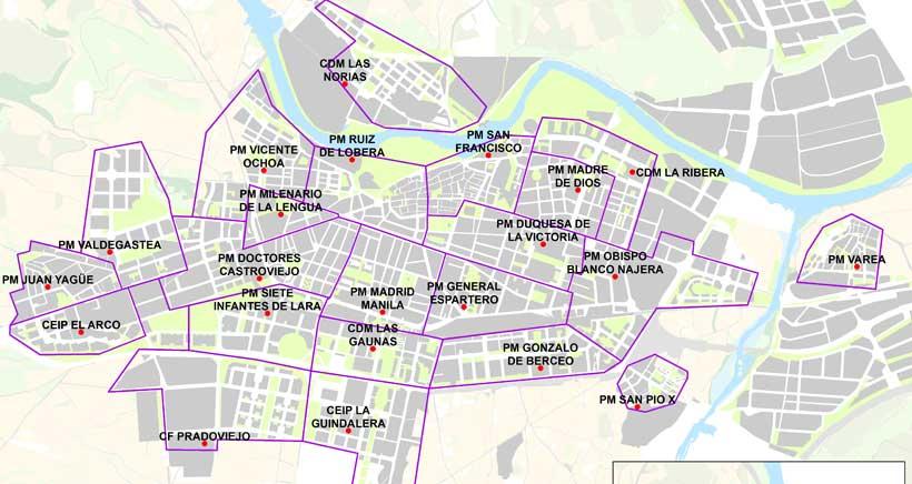 Mapa con los 23 lugares donde recoger las mascarillas infantiles y de adultos en Logroño