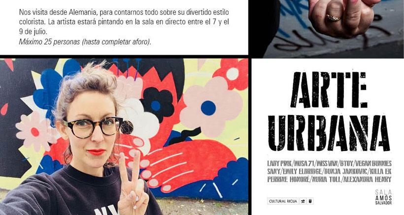 La artista del grafiti Emily Eldridge pinta en directo en la Amós Salvador