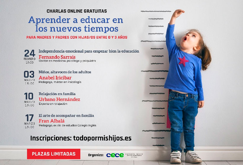 """Charlas online gratuitas para """"Aprender a educar en los nuevos tiempos"""""""