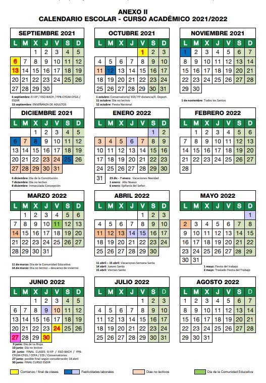 calendario escolar la rioja 2021-2022