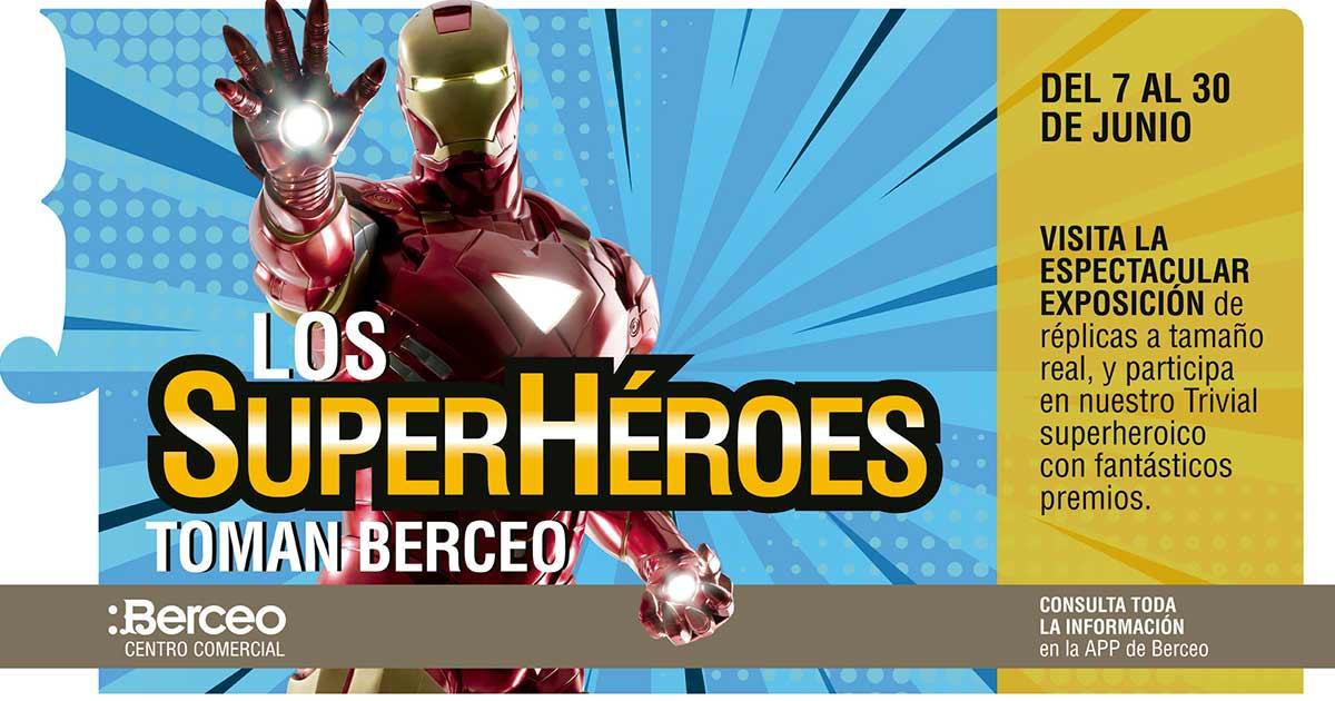Exposición de superhéroes a tamaño real en el Centro Comercial Berceo