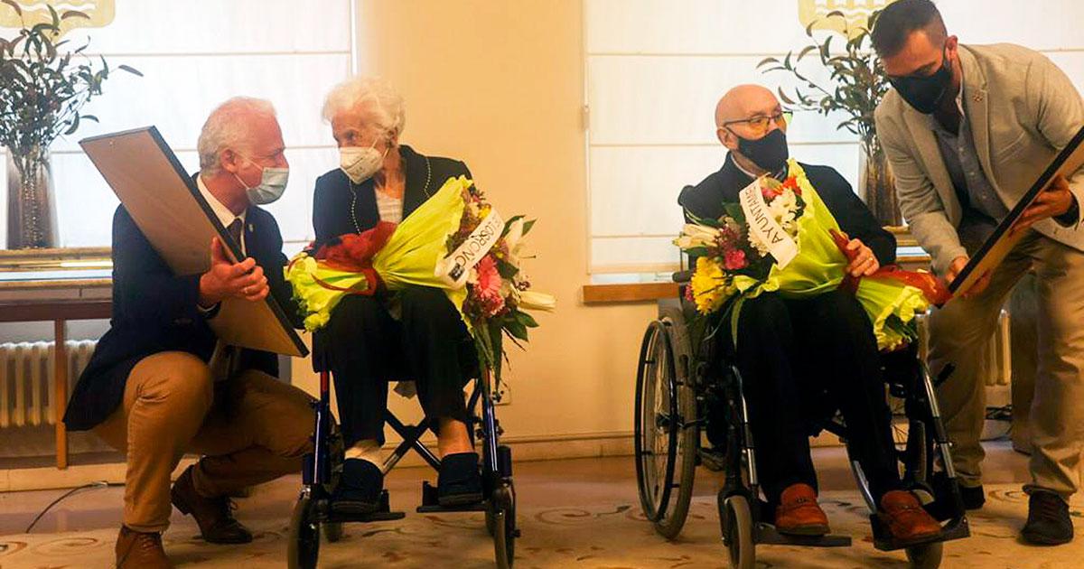 Germán y María, de 103 y 104 años, reciben el homenaje de Logroño por el Día de los Abuelos